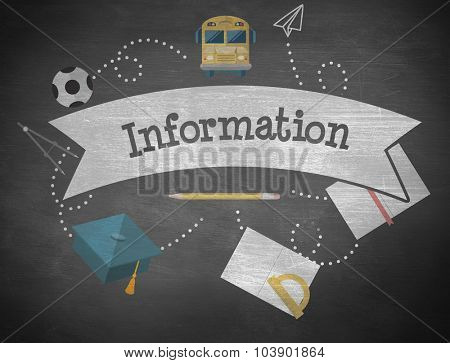 The word information and school graphics against black background