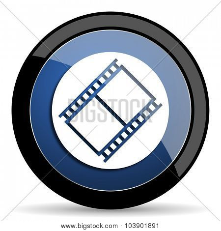 film blue circle glossy web icon on white background, round button for internet and mobile app