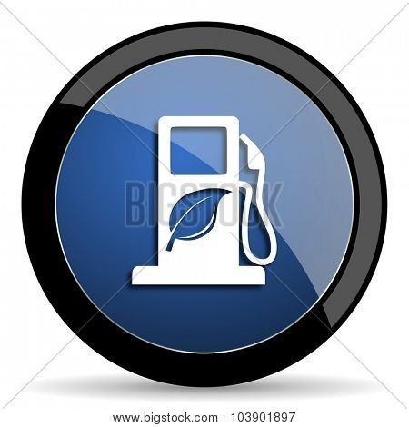 biofuel blue circle glossy web icon on white background, round button for internet and mobile app