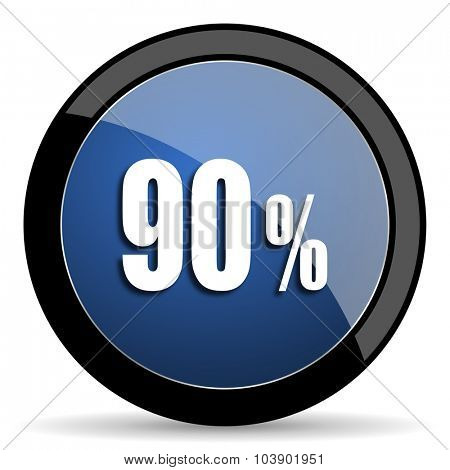 90 percent blue circle glossy web icon on white background, round button for internet and mobile app