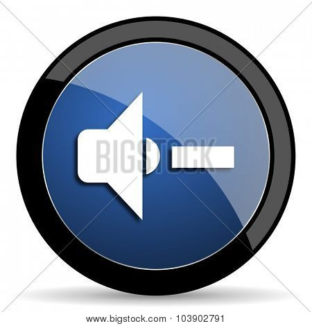 speaker volume blue circle glossy web icon on white background, round button for internet and mobile app