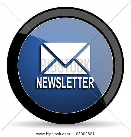 newsletter blue circle glossy web icon on white background, round button for internet and mobile app