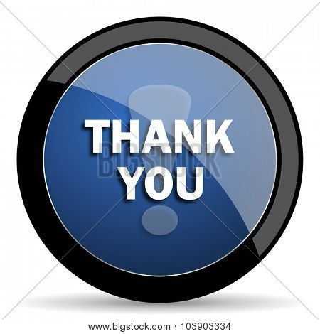 thank you blue circle glossy web icon on white background, round button for internet and mobile app
