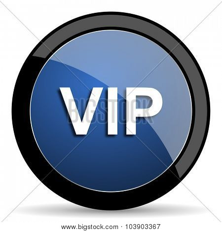 vip blue circle glossy web icon on white background, round button for internet and mobile app