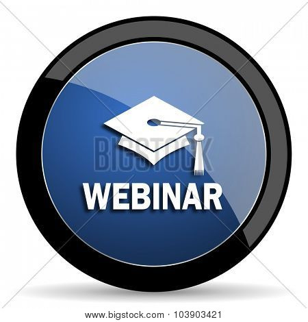 webinar blue circle glossy web icon on white background, round button for internet and mobile app