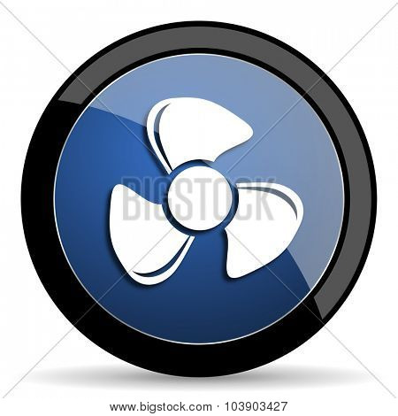 fan blue circle glossy web icon on white background, round button for internet and mobile app
