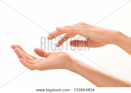 Two woman's hands demonstrating life situations