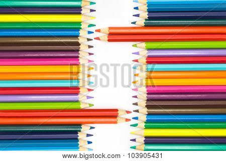Set of Mixed colors wooden pencils on white