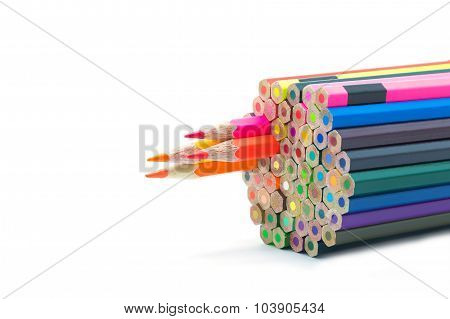 Group of color wooden pencil on white background