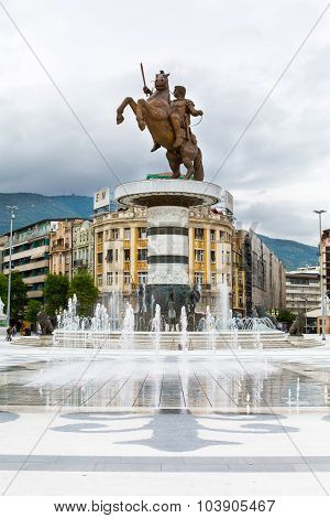 Alexander the Great statue on main square in downtown of Skopje