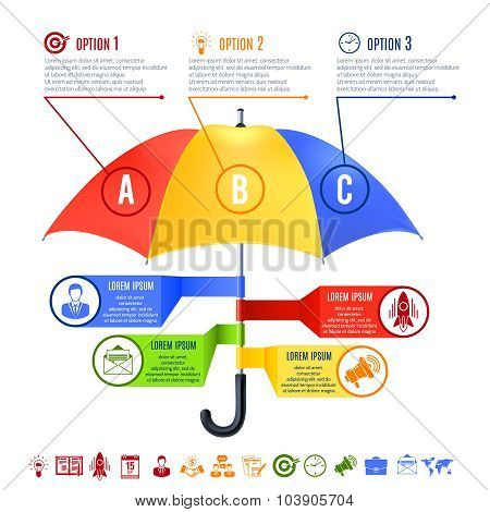 Umbrella Infographics Set