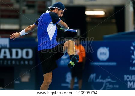 KUALA LUMPUR, MALAYSIA - SEPTEMBER 26, 2015: Luca Vanni of Italy reacts his qualifying match in the Malaysian Open 2015 Tennis tournament held at the Putra Stadium, Malaysia.