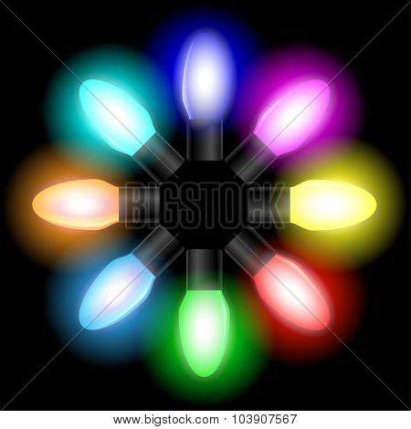 Christmas and New year color light bulbs on black background. Illustration vector EPS10.