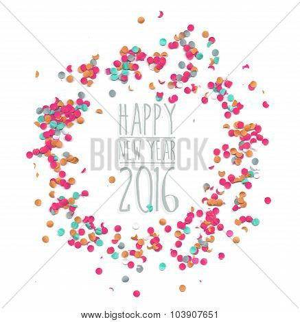 Happy New Year 2016 Confetti Party Simple Template