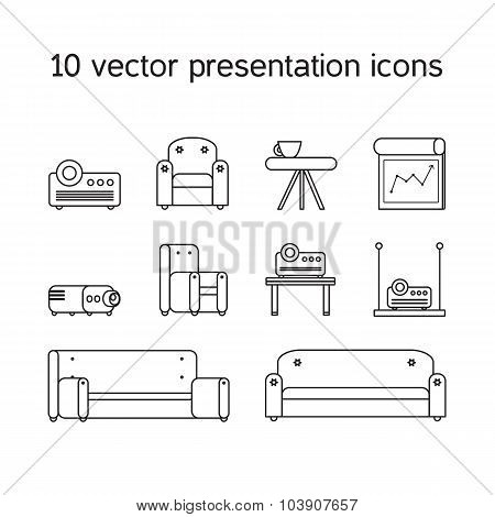Presentation Icons With Projector And Comfortable Seats