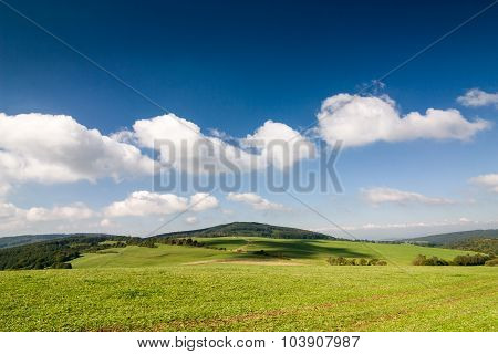 Amazing Summer Countryside Under Blue Sky With Clouds