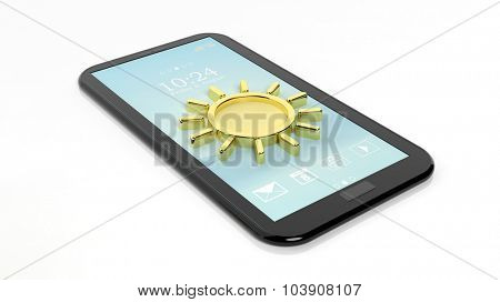 Tablet / smartphone with sun symbol, isolated on white. Weather forecast concept.