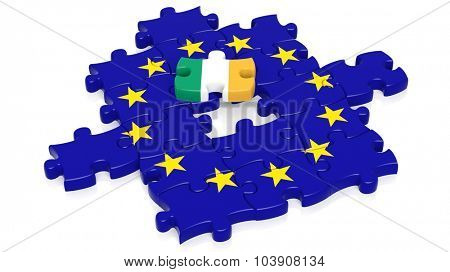Jigsaw puzzle flag of European Union with Ireland flag piece, isolated on white.