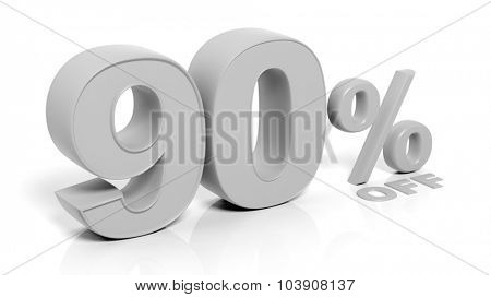90% 3D numbers,isolated on white background.