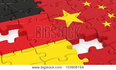 Jigsaw puzzle, flag of Germany and flag of China