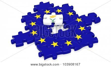 Jigsaw puzzle flag of European Union with Cyprus flag piece, isolated on white.