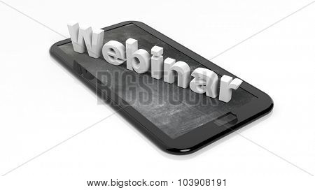 Webinar 3D text on tablet, with blackboard on screen. Isolated on white