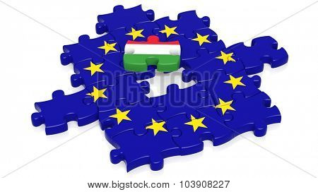 Jigsaw puzzle flag of European Union with Hungary flag piece, isolated on white.