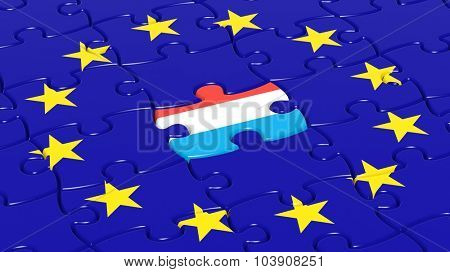 Jigsaw puzzle flag of European Union with Louxembourg flag piece.