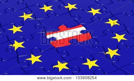Jigsaw puzzle flag of European Union with Austria flag piece.