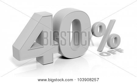40% 3D numbers,isolated on white background.