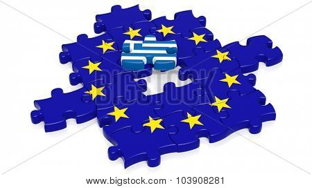 Jigsaw puzzle flag of European Union with Greece flag piece, isolated on white.