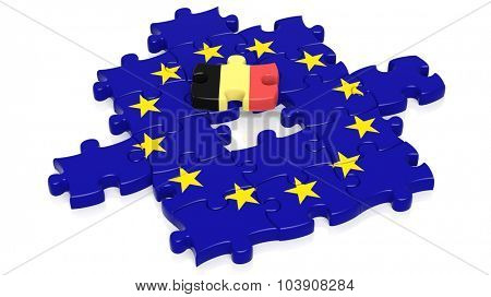 Jigsaw puzzle flag of European Union with Belgium flag piece, isolated on white.