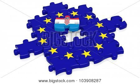 Jigsaw puzzle flag of European Union with Croatia flag piece, isolated on white.