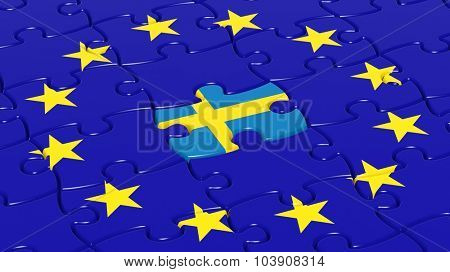 Jigsaw puzzle flag of European Union with Sweden flag piece.