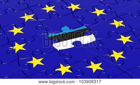 Jigsaw puzzle flag of European Union with Estonia flag piece.