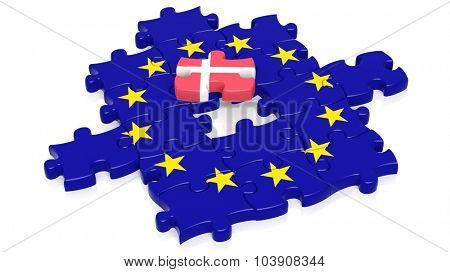 Jigsaw puzzle flag of European Union with Denmark flag piece, isolated on white.