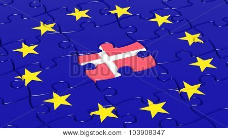 Jigsaw puzzle flag of European Union with Denmark flag piece.