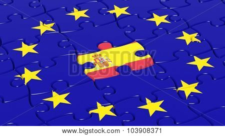 Jigsaw puzzle flag of European Union with Spain flag piece.
