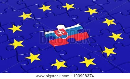 Jigsaw puzzle flag of European Union with Slovakia flag piece.
