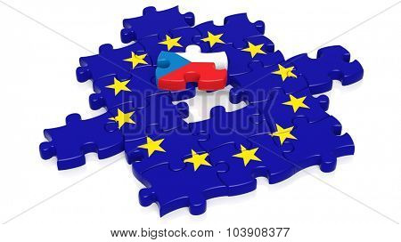 Jigsaw puzzle flag of European Union with Czech Republic flag piece, isolated on white.