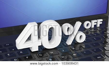 40%  off white 3D numbers on black laptop keyboard