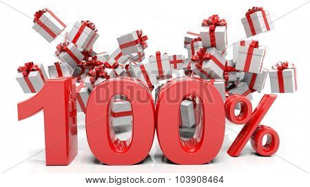 100% 3D numbers with bunch of gift boxes,isolated on white background.
