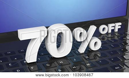 70%  off white 3D numbers on black laptop keyboard