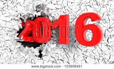 2016 text breaking through white cracked wall.