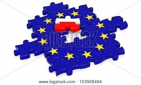 Jigsaw puzzle flag of European Union with Poland flag piece, isolated on white.