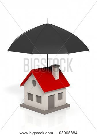 A house sign under big black umbrella, isolated on white.
