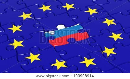 Jigsaw puzzle flag of European Union with Slovenia flag piece.