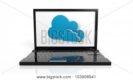 Cloud online storage icons on laptop screen, isolated on white