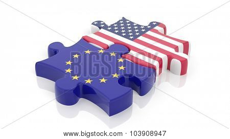 Jigsaw puzzle pieces, flag of EU and flag of USA , isolated on white.