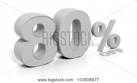 80% 3D numbers,isolated on white background.